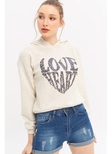 ESQ Pullu Love Yazılı Sweatshirt Bej